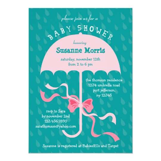 """April Showers"" Umbrella Girl Baby Shower Invitati Card"