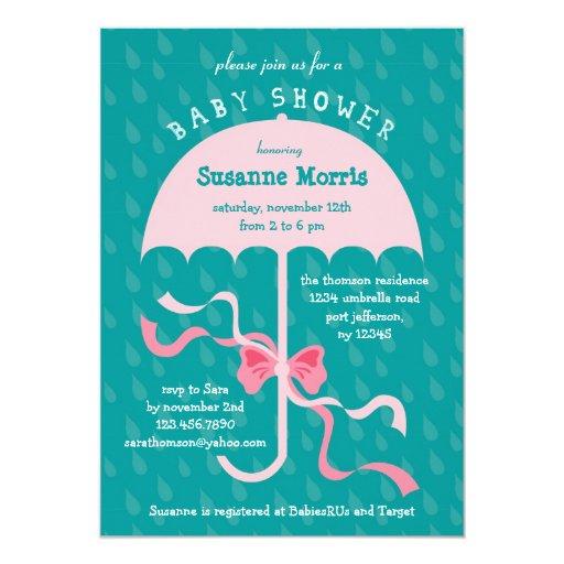 """April Showers"" Umbrella Girl Baby Shower Invitati Invites"