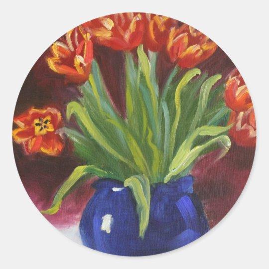 """April Tulips"" Classic Round Sticker"