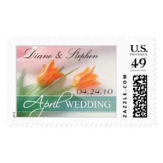 April Wedding Bride & Groom Custom Postage Stamp