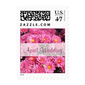 April Wedding pink flowers Postage