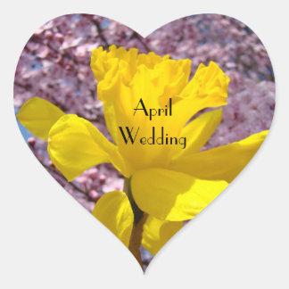 April Wedding seals envelopes Invitations Daffodil Stickers