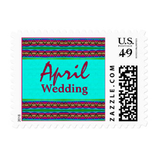 April Wedding turquoise red Postage