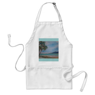 apron, beach, watercolor by Jan Turner Adult Apron