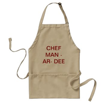Apron Chefs Apron  Chef Man-ar-dee Khaki by CREATIVEHOLIDAY at Zazzle