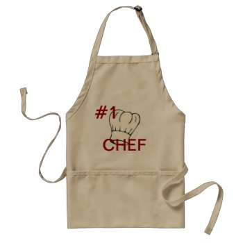 Apron Chefs Apron For #1 Chef Khaki by CREATIVEHOLIDAY at Zazzle