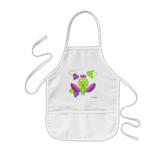 apron child school painting pink bird heart