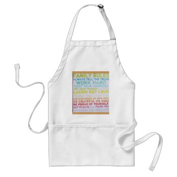 Apron- Custom  Family Rules Adult Apron by CREATIVEforBUSINESS at Zazzle