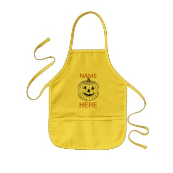 Apron Kids Craft Apron With Pumpkin And Name by creativeconceptss at Zazzle