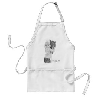 Apron, Pony Love, Graphite drawing Adult Apron