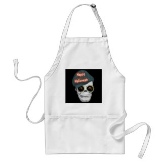 Apron Skeleton Head Happy Halloween