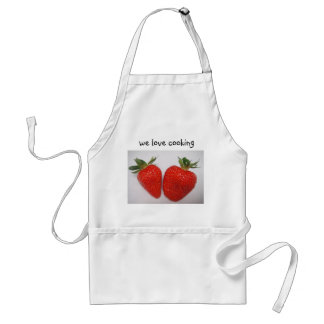 Apron two strawberries, label: incoming goods love