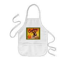 APRON VINTAGE CRATE LABEL COWBOY ROPING AN ORANGE