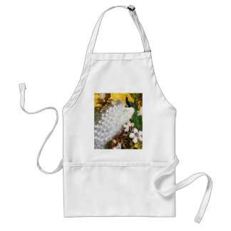 Apron: White and Blue Peacocks Adult Apron