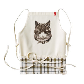 Apron with a vintage cat illustration