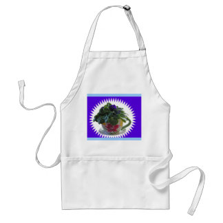 Apron with African Violet in a Teacup and Saucer
