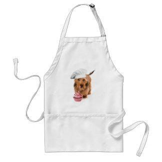 Apron with dog with toque and cup cake