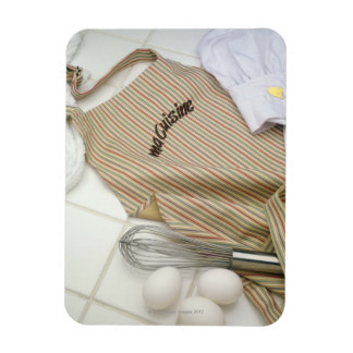 Apron with eggs and whisk rectangle magnet