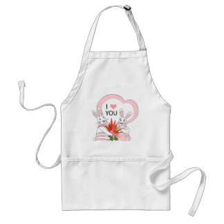 Apron with funny rabbit couple