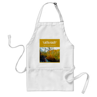 "Apron with ""Lets Eat!"" and River scene"