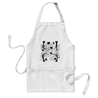 Apron with little whimsical black fishes