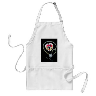 Apron with print of stethoscope surrounding pills