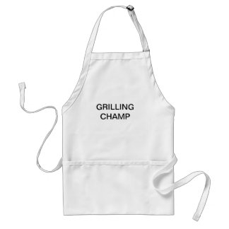Apron with words GRILLING CHAMP on the front.