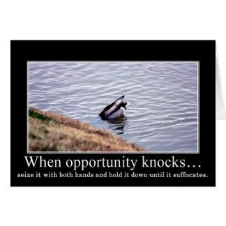 Aproveche la oportunidad con ambas manos y mátele tarjeta de felicitación