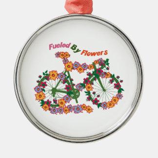 Aprovisionado de combustible por las flores adorno redondo plateado