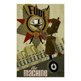 Aprovisione de combustible la máquina póster