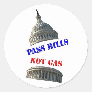 Apruebe las leyes, no pegatina del gas