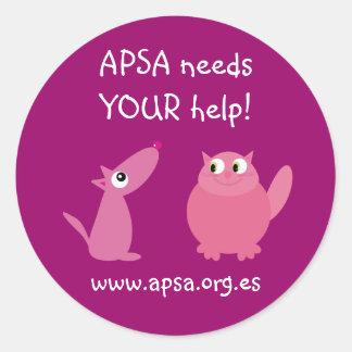 APSA Animal Charity Cute Pets Customizable Pink Classic Round Sticker
