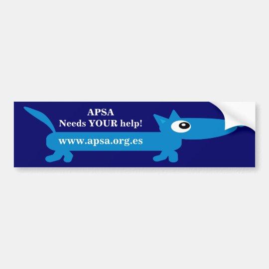 APSA Animal Protection Charity Cartoon Dog Bumper Sticker