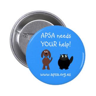 APSA Animal Protection Charity Cartoon Dog & Cat Pinback Button