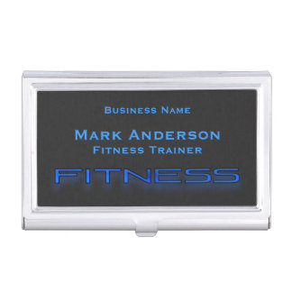 Aptitud azul, tenedor negro de la tarjeta de caja de tarjetas de presentación