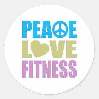 Aptitud del amor de la paz pegatina redonda