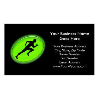 Aptitud verde del resplandor y logotipo personal tarjetas de visita