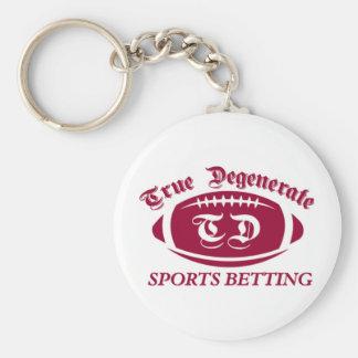 Apuesta degenerada verdadera de los deportes llaveros personalizados