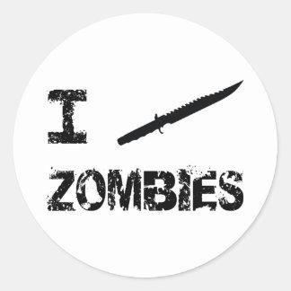 Apuñalo a zombis etiquetas redondas