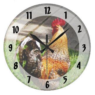 Apuntalar el gallo reloj redondo grande