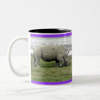 Apuntalar rinoceronte taza dos tonos