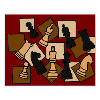 AQ- Abstract Art Chess Board Poster