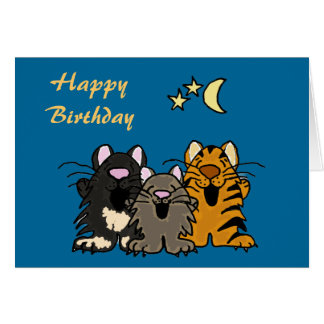 cat singing happy birthday greeting cards  zazzle, Birthday card