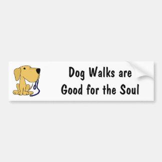 AQ- Cute Dog with Leash Bumper Sticker