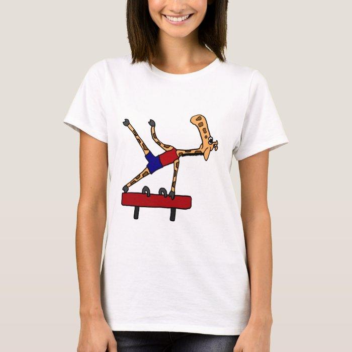 AQ- Giraffe Gymnast on Pommel Horse Cartoon T-Shirt