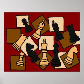 AQ- poster del tablero de ajedrez del arte abstrac