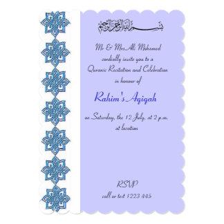 """Aqiqah azul del bebé musulmán islámico invitación 5"""" x 7"""""""