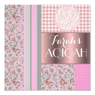 """Aqiqah musulmán del rosa de la niña islámico invitación 5.25"""" x 5.25"""""""