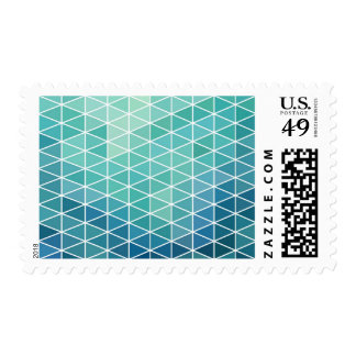 Aqua Abstract Triangles Postage