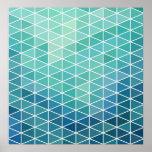 Aqua Abstract Triangles Poster